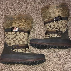Coach Marietta Fur Winter Snow Boots A7185